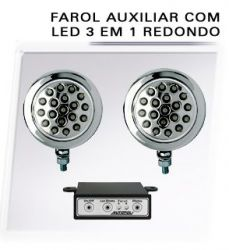 Farol Auxiliar Red 19 Leds 3 em 1 Par 12V (Varias Cores)