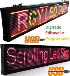 Painel Display Letreiro Led 100 X 20cm - Varias Cores